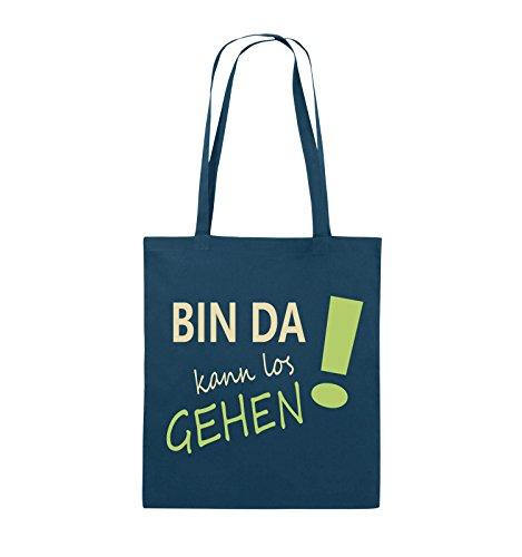 Comedy Bags - Bin da kann los gehen! - Jutebeutel - lange Henkel - 38x42cm - Farbe: Weiss / Schwarz-Rot Navy / Beige-Hellgrün