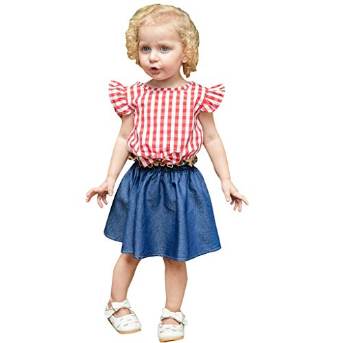 MRULIC Baby Mädchen Outfits Kleidung Bowknot Weste Tops + Plaid Shorts Hosen Sets Anzug 1-6 Jahre(X2-Rosa,100)