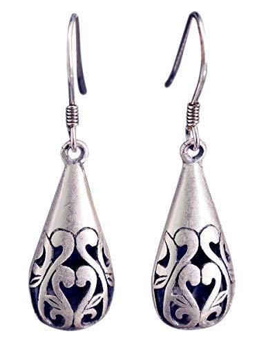 NicoWerk Damen Silber Ohrringe Tropfen aus 925 Sterling Silber Vintage Durchlöchert Ethno Oval SOR228