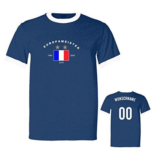 Shirtfun24 Herren EUROPAMEISTER 2016 2 Sterne EM WM FRANKREICH France Name Nummer Ringer Fun T-Shirt, navy, XXL (Kurzarm Ringer Trikot T-shirt)
