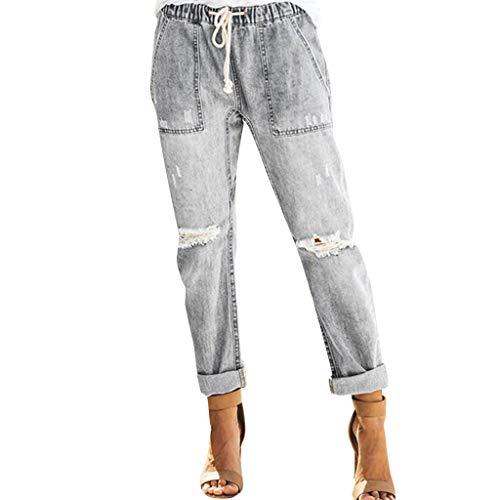 WOZOW Jeans Damen Zerrissene Destroyed Ripped Washed Destroyed Distressed Loose Lose Denim Long Lang Straight Leg Freizeithose Stoffhose Casual High Waist Slim Trousers (2XL,Grau) - Leder-low Rise Flare Jeans