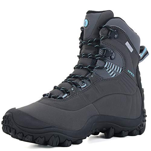 XPETI Scarpe Trekking Donna Estive, Impermeabili Montagna Alpinismo da Trekking Mid Calzature Femminili Escursionismo Trail Scarponcini per Camminare Neve Carbone/Blu 38