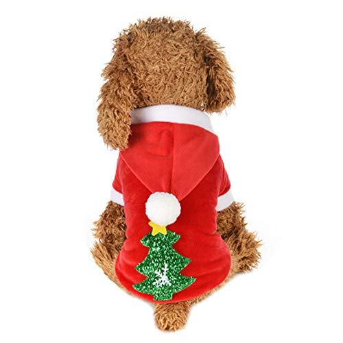 (GNYD Hund Haustier Weihnachtswelpen Hoodie Strickjacke warme Weihnachtsbaum Muster Kleidung)