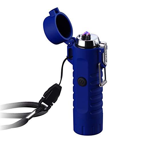 Dual Arc Feuerzeug mit Taschenlampe, Doppelter Plasma-USB, Wiederaufladbar, Flammenlos,Wasserdicht, winddicht, Mini-Elektrisches Feuerzeug für Zigarren, Kerzen, Zigarettenpfeife