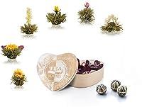 Fleurs de thé dans une boîte de forme de coeur 6 variétés de thé blanc de Creano Le Thé Abloom ouvre dans le pot et montrera sa beauté - Le Fleur de thé est fabriqué à partir d'ingrédients naturels (feuilles de thé et fleurs naturelles) - sans résidu...