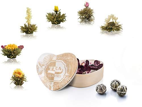 Creano Thé Floraison, Fleurs de thé dans Une boîte de Forme de Coeur 6 variétés de thé Blanc de