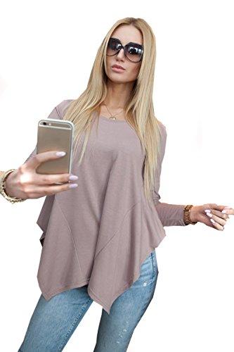 Mississhop 510-23 Schicke und ausgefallene Tunika Bluse Pulli Longshirt Cappuccino XL - White Wedding-shirt