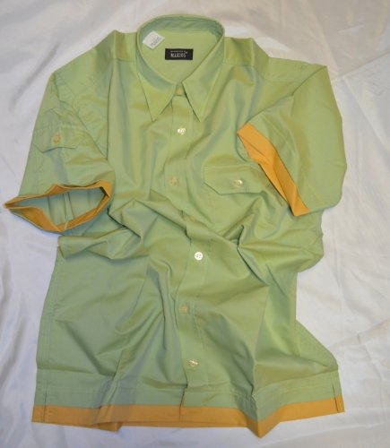 Herren Kurzarm Hemd, Bowlingshirt, Retro Style, Gr. XL 43/44, grün, loose (Shirt Erwachsene Bowling Kostüme)