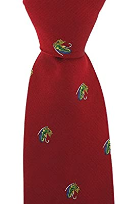 Soprano Red Luxury Silk Tie With Single repeated Fly Fishing Hook design