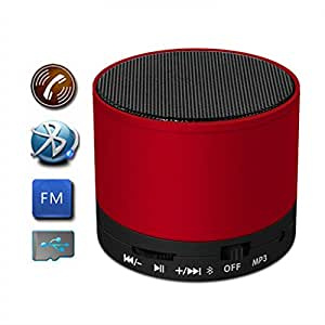 M-STARK Intex Aqua N4 Compatible Mini Bluetooth Wireless Speaker (S10)/Portable Audio Player Play FM Radio, audio from TF card and Auxiliary input - (RED)