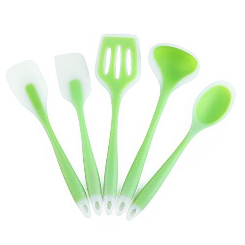 5 Stück Küchenutensilien Silikon Set, BPA frei Silikon Küchenhelfer Set Enthält Bratenwender, Löffel, Suppenkelle, Pfannenwender, Spatel, Spülmaschinenfest, Antihaft, Hitzebeständiges (5 Stück Grün)