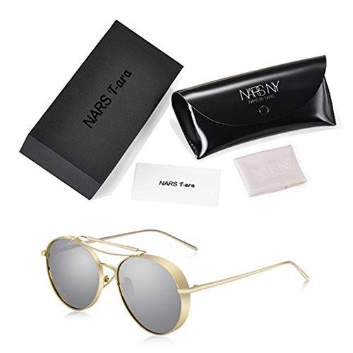 Damenbrillen Dickrandige Mercury Reflektierende Sonnenbrille Herren und Damen Skull Mirrors Runde Sonnenbrille UV Schutz Sonnenbrille Fahren Sonnenbrille,D