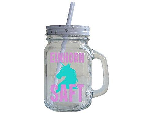 Vintage Trinkglas EINHORN SAFT mit Strohhalm und Deckel Henkelglas