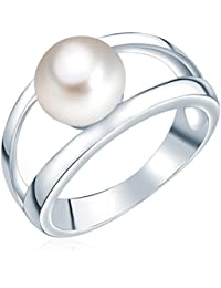 Valero Pearls Damen-Ring Silver Collection 925 Sterling Silber Süßwasser-Zuchtperlen Weiß 60201414