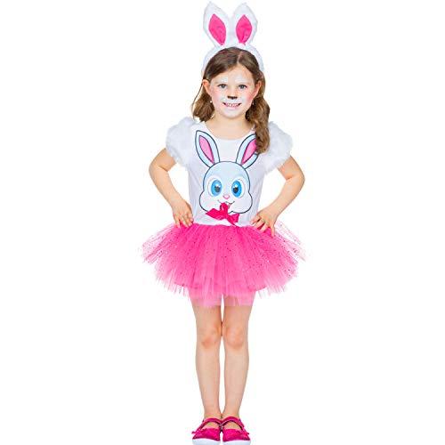 Kinder Kostüm Hase Schnuffel Kleid rosa Tüll Tier Fasching Karneval Häschen pink - Häschen Kinder Kostüm