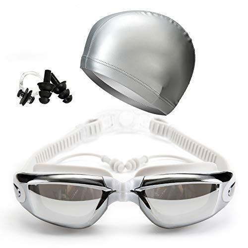 Chomile HD Antibeschlag Schwimmbrille Ohrenstöpsel Kappe Set, Wasserfest Schwimmen Linsen Verstellbar für Erwachsene, Unisex - Silbern