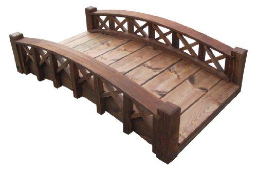 SamsPavillons Schwan Holz Gartenbrücke mit Kreuzhalben Gittergeländer, 10,2 cm, Braun