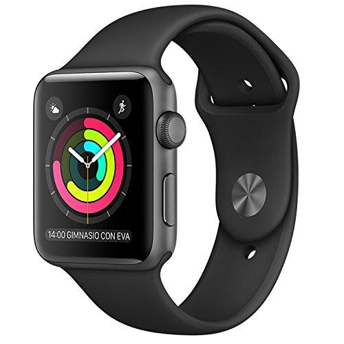 Apple - Watch series 2 caja de 38 mm de aluminio en gris espacial y correa deportiva negra