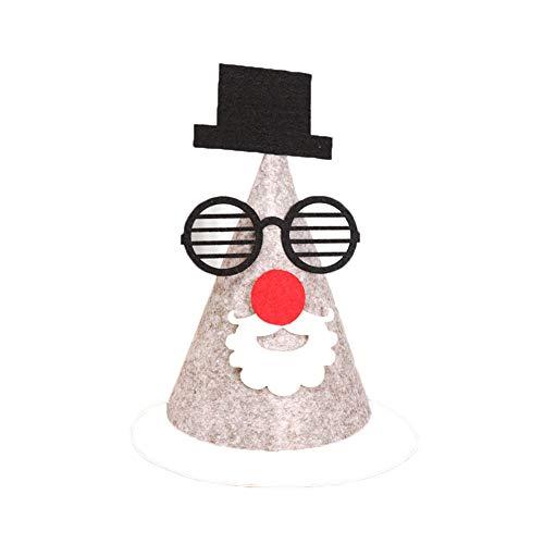 Mini Weihnachtsmütze Nikolausmütze DIY Schneemann Hut mit Kreative Filz Tuch und Kartoon Muster für Kinder Weihnachten Festival (5#)