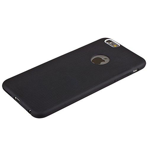 Xcessor Flex Ultradünn TPU Flexibel Gel Hülle für Apple iPhone 6 und 6S mit Bunten Kanten. Klar / Goldene Farbe Schwarz / Linien