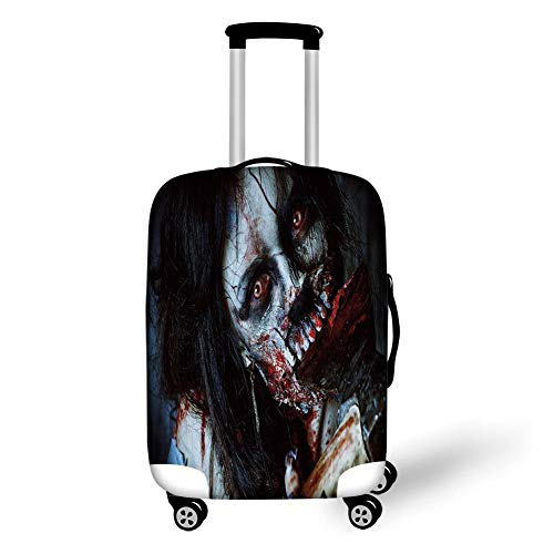 Travel Luggage Cover Suitcase Protector,Zombie Decor,Scary Dead Woman with Bloody Axe Evil Fantasy Gothic Mystery Halloween Picture,Multicolor,for TravelM 23.6x31.8Inch (Skulls Halloween Mystery)