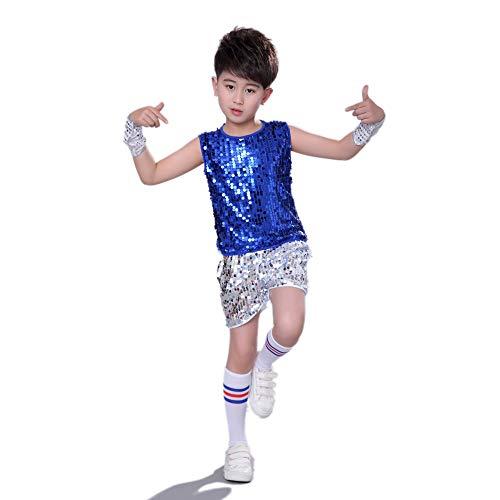 MoyuqiTM Kinder Hip Hop Dance Kostüm Jungen Jazz Street Dance Kleidung (130cm, Blau) (Girl Street Dance Kostüm)