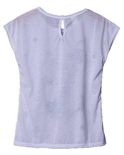 Minetom T-Shirt À Manches Courtes Pour Femme Eté Chemise Blouse Ancre Imprimer Casual Top Blanc