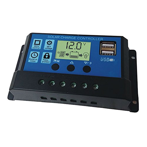 UxradG 12V/24V Solar-Laderegler, 10A/20A/30A Solarmodule Akku LCD Display Controller mit automatische Regler Timer für LED-Beleuchtung oder Solar Home System, 65 A -