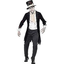 Smiffys Till Chaqueta muerte nos separe Zombie Novio traje con chaleco / bufanda / Pantalones y sombrero de copa (L, Negro)