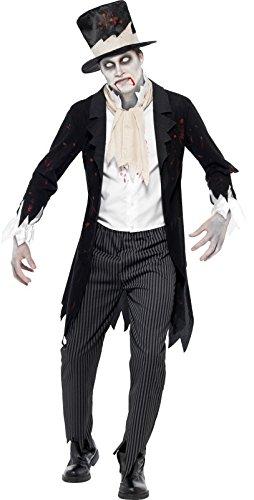 Smiffys, Herren Zombie-Bräutigam Kostüm, Jacke mit Weste, Halstuch, Hose, und Zylinder, Größe: L, (Jacke Herren Kostüme)