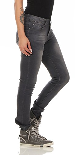 Fashion4Young Damen Jeans Röhrenjeans Hose Damenjeans Stretch-Denim Slimline versch. Designs Grau