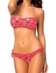 KL206 CUPCAKES – Bikini mujer motivo dulces (sujetador y braguitas a conjunto) - Coral, M