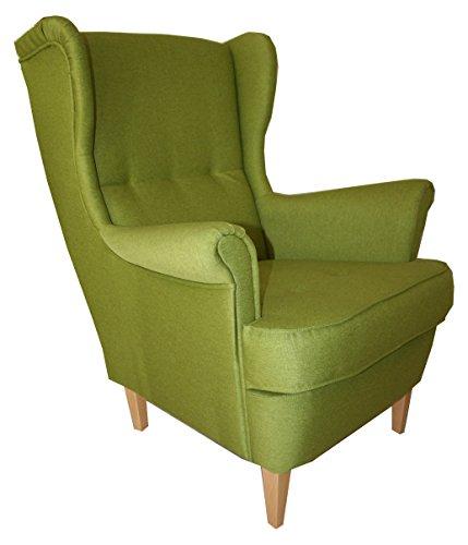 mb-moebel Ohrensessel Fernsehsessel Wohnzimmer-Sessel Relax-Sessel Loungesessel Armsessel - Valley (Grün)