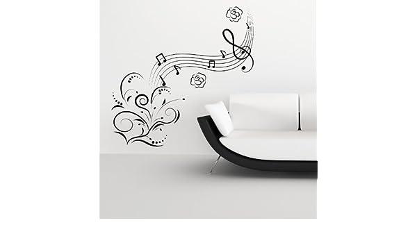 Note musicali fiori arte al muro decalcomanie adesivi parete