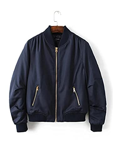 WJS-ClothingClothingLong sleeve coat collar and collar long sleeved dress coat jacket pocket,Navy,S