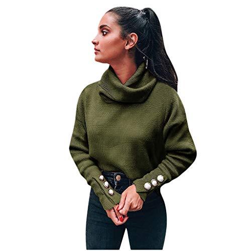 Lazzboy Pullover in Maglia a Maniche Lunghe in Tinta Unita con Bottoni a Autunnali e Invernali a Collo Alto per Donna e Autunno(XL,Verde)