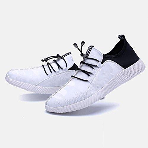 Printemps Des Hommes Chaussures De Sport Respirant Maille Jerseys Chaussures De Course Chaussures Confortables Chaussures De Sport Blanc