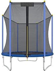 Ultrasport Trampoline de jardin Uni-Jump/Promo, trampoline pour enfant, set complet pour trampoline avec tapis de saut, filet de sécurité, barres du filet rembourrées et revêtement pour les bords 183 -460 cm