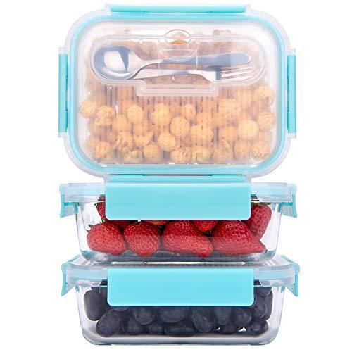 GENICOOK Frischhaltedosen aus Glas inkl. Mini Besteck, Meal prep Boxen Glas, Glasbehälter mit Deckel, Mikrowellengeschirr Glas & Gefrierfach geeignet 1050ml *3
