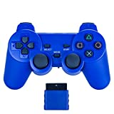 bowink Wireless Gaming Controller für PS2 Double Shock Solid Blue