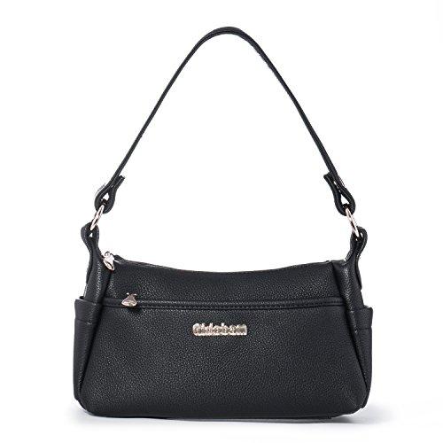 Damen Umhängetasche Klein, Frauen Mädchen Handtaschen Schultertasche Taschen Handy Tragetasche Geldbörse mit Vielen Taschen, 2 Schultergurte, PU Leder Katloo + Nagelknipser (schwarz)