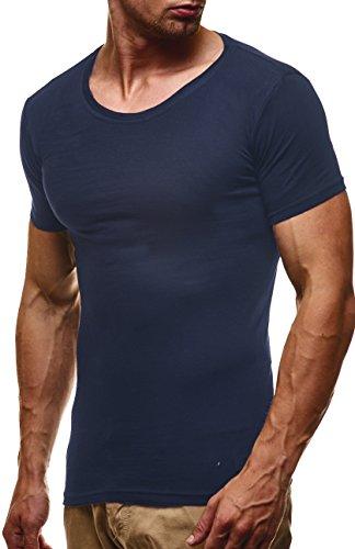 LEIF NELSON Herren Basic T-Shirt Rundhals Sweatshirt Hoodie Hoody LN6373; Grš§e XL, Blau (Jumper Baumwoll-t-shirt)