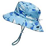 Foruhoo Kinder Sonnenhut, UV Schutz Baumwoll Sonnenhüte für Summer Größenverstellbar mit Kordelzug (52cm, Blauwal)