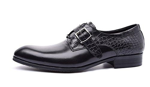 GRRONG Herren Lederschuh Der Formale Kleid Echtes Leder Zeigt Geschäft Black