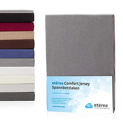 etérea Jersey Spannbettlaken, Spannbetttuch 100% Baumwolle Bettlaken, Steghöhe bis zu 25 cm, 200x200 - 200x220 cm, Frost Grau