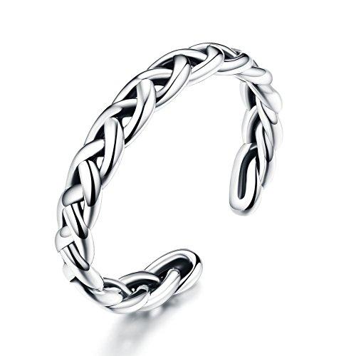 Geflochtene keltische Liebe Knoten Vintage Ringe 925 Sterling Silber Twisted Ring offen Anweisung Band für Frauen Mädchen Männer