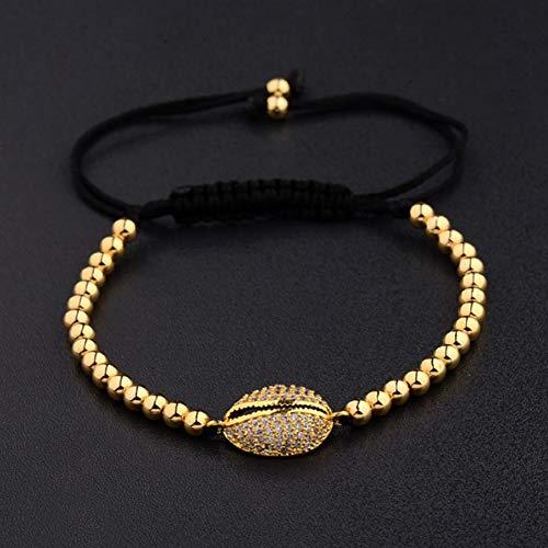 YANOUHZ Kupfer Perlen Armband Perlen Weiß Zirkon Charme Männer Armband Modeschmuck -