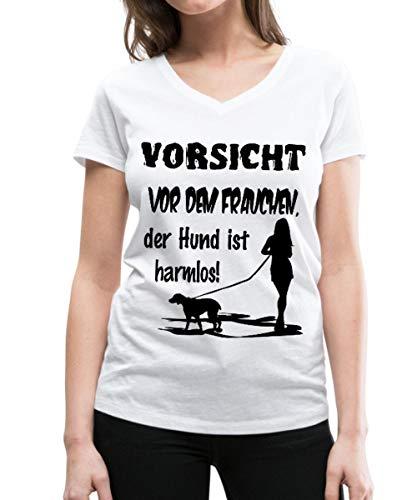 Spreadshirt Vorsicht Vor Dem Frauchen Frauen Bio-T-Shirt mit V-Ausschnitt von Stanley & Stella, L, Weiß