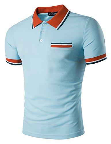 Boom Fashion Herren Poloshirt Beiläufig Kurzarm Stehkragen M - XXL Blau