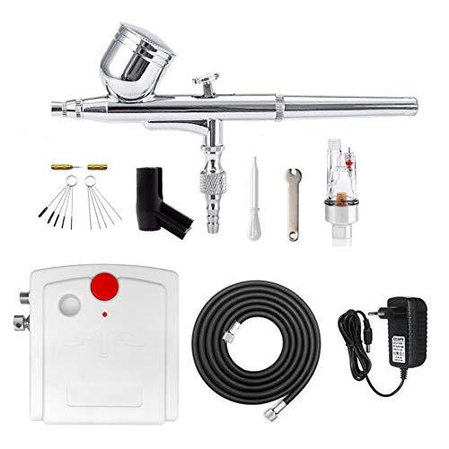 Aerografo con Compresor Profesional Mini Kit de Aerógrafo Gravedad Alimentar de Aire para Arte Pintura...